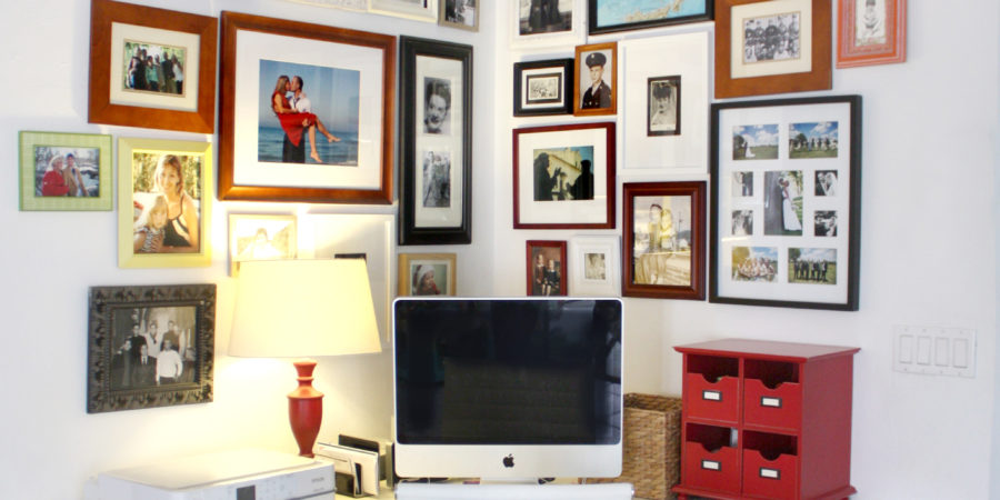 home office photo wall Bedford Corner Desk Set from Pottery Bar