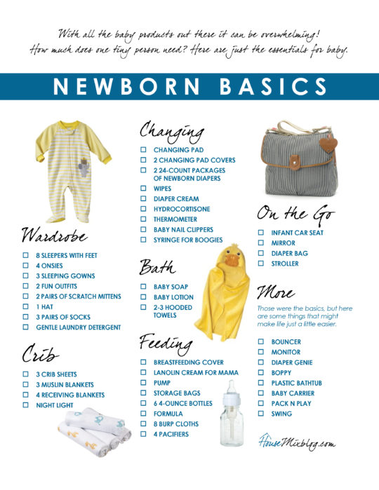 Newborn essentials registry checklist