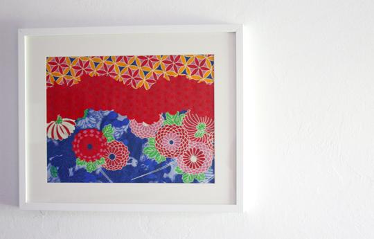 world market gift wrap framed as art
