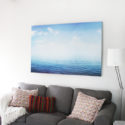 gray ikea ektorp couch sea and sky canvas