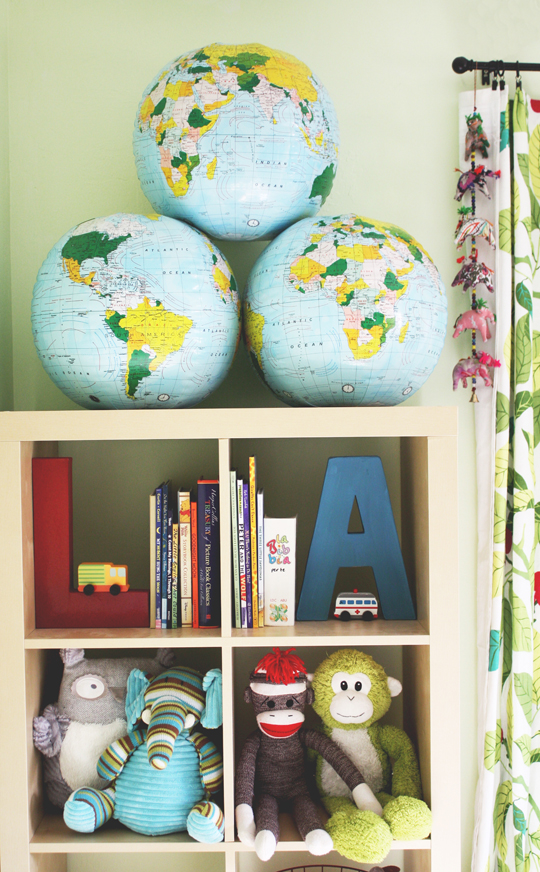 inflatable globes on shelves for kids room