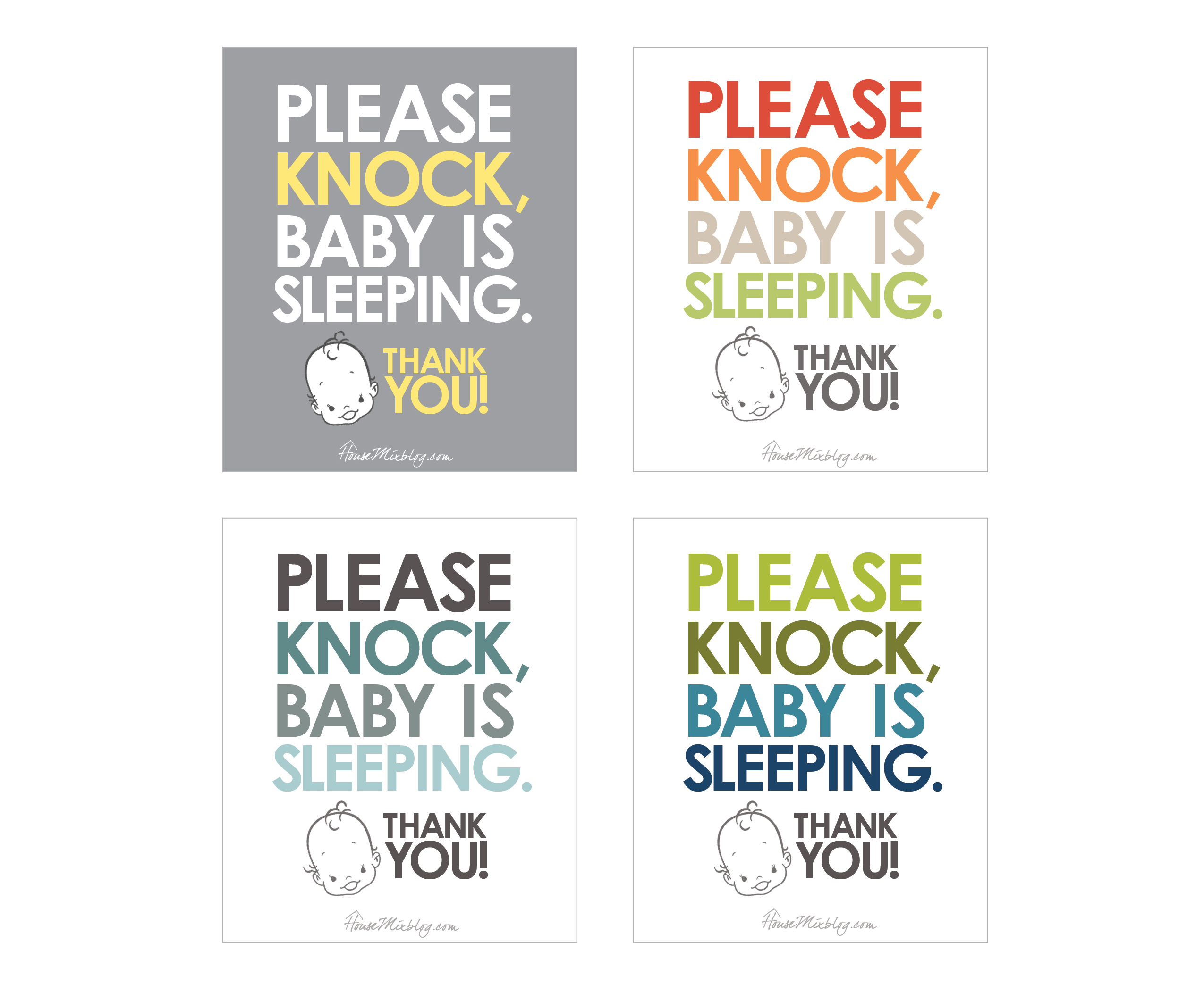 Free Quot Knock Baby Sleeping Quot Sign House Mix