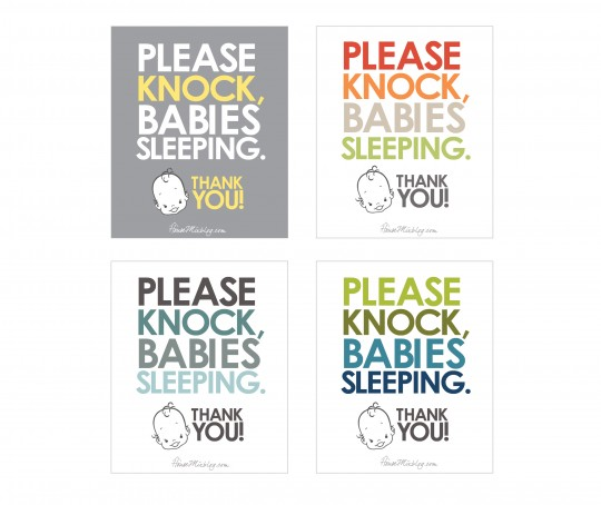 please knock babies sleeping sign for twins