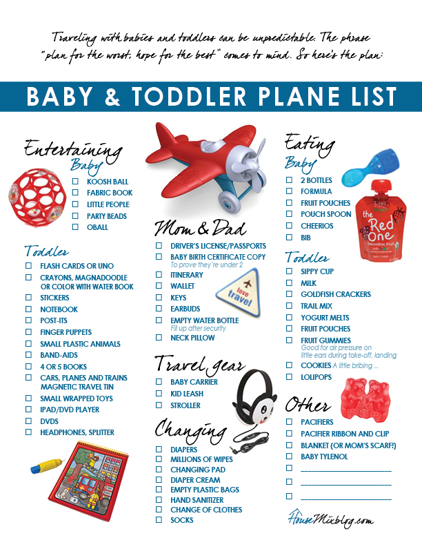 pack list baby toddler plane list