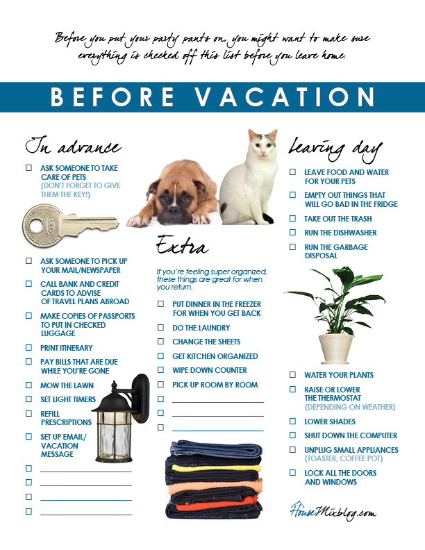 checklist before you leave your house on vacation