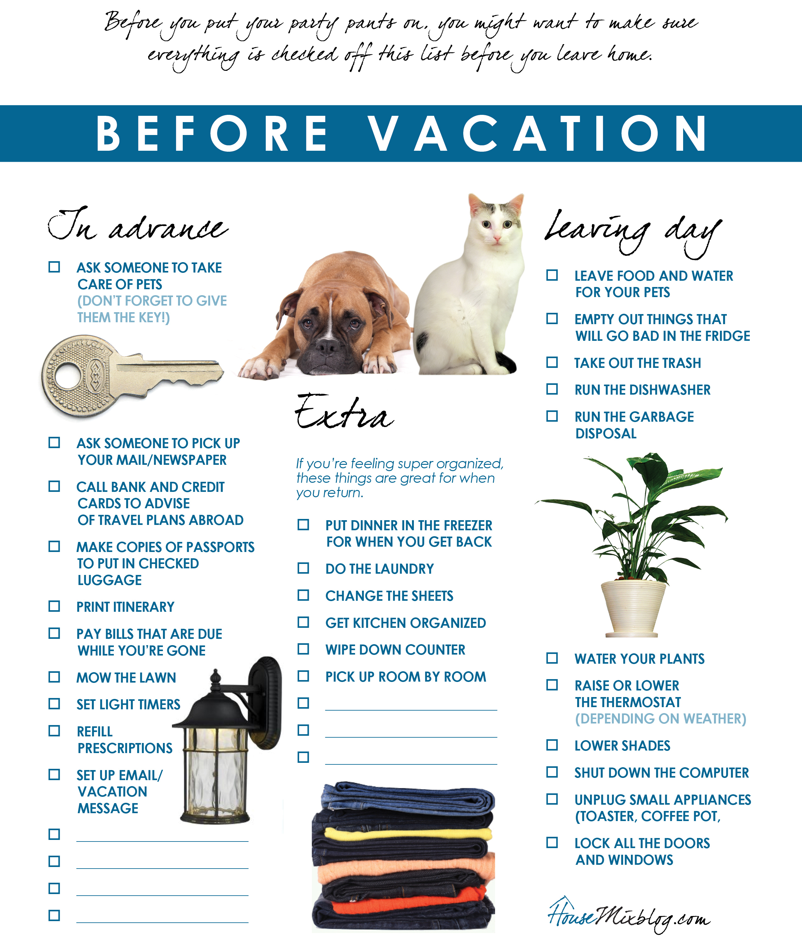 vacation check list