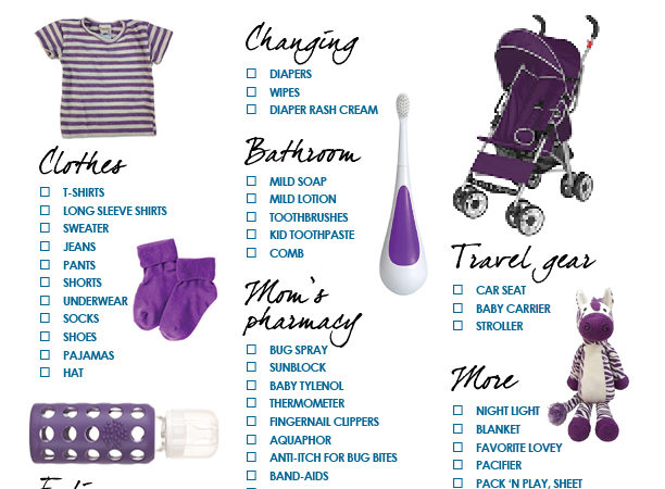 travel checklist for babies and toddlers
