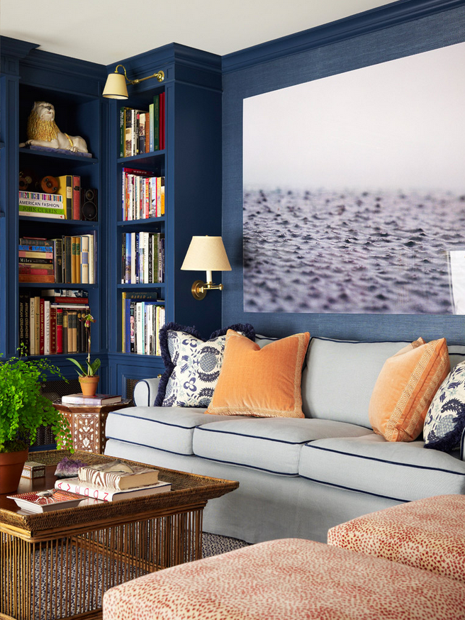 Zebra decor living room - 8 Navy Blue Library And Study Ideas House Mix