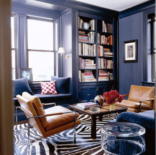 Study Room Color Ideas: 8 Navy Blue Library And Study Ideas