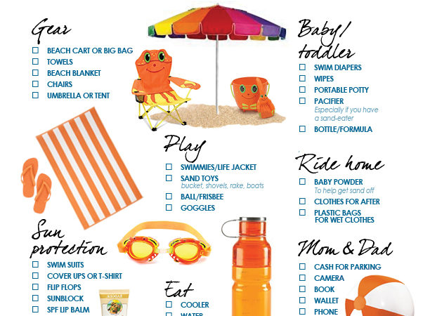 Beach printable checklist for kids