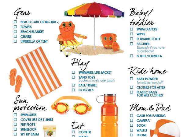 Beach printable checklist for kids