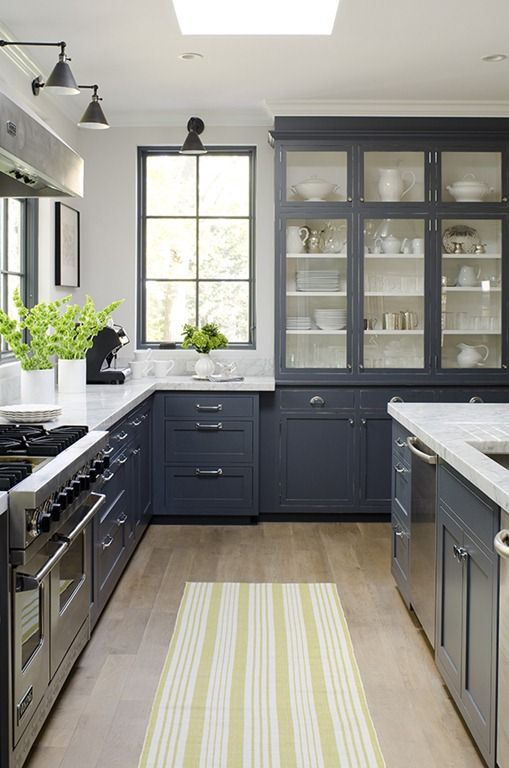 kitchen with gray cabinetry and open shelving