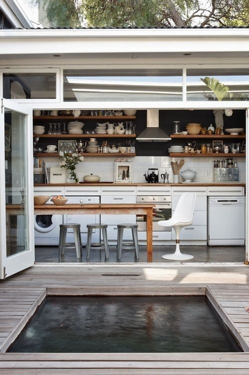 outdoor kitchen with open shelving
