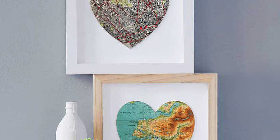 DIY recycle map artwork - heart shaped map famed