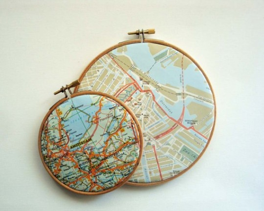 DIY recycle map as artwork - Maps framed in embroidery hoops