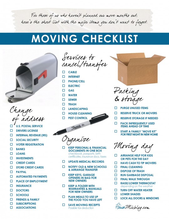 Printable moving checklist. Change of address. services to stop. organizing