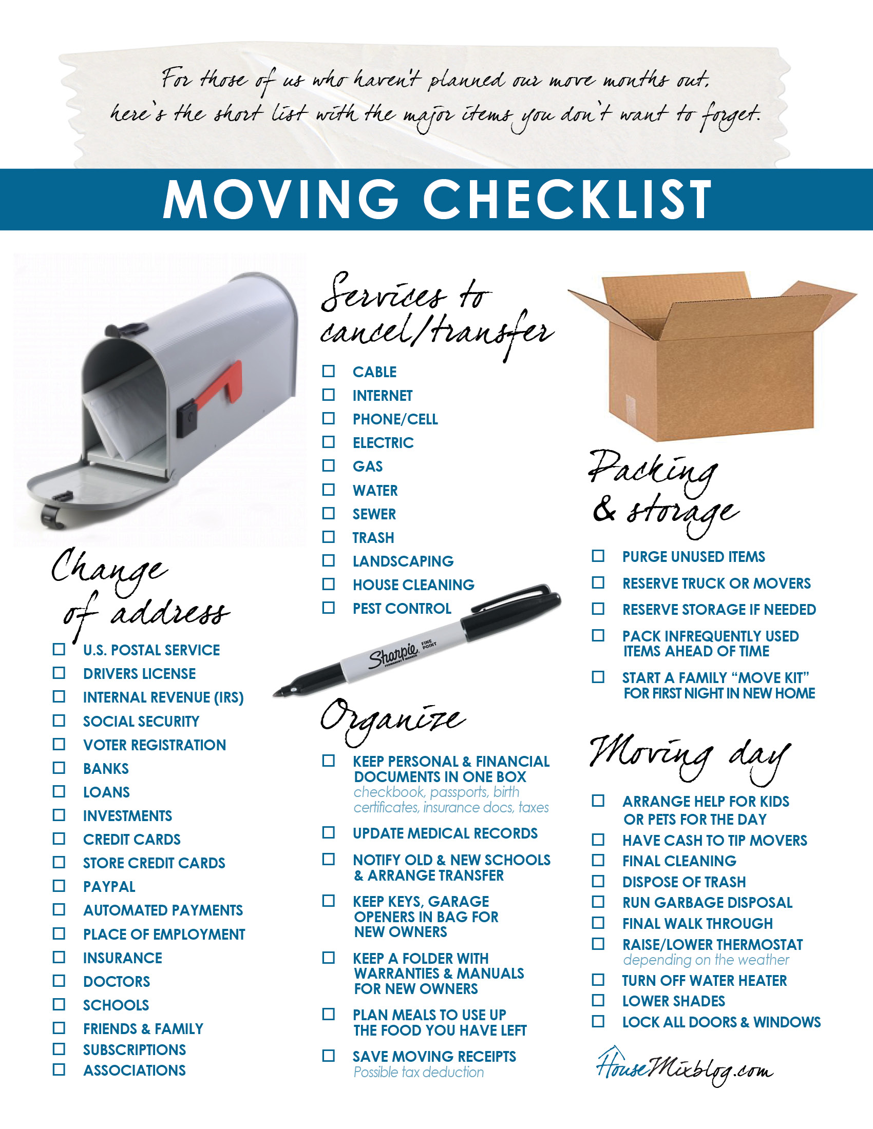 graphic relating to Stay Organized With a Printable Moving Checklist identify Relocating element 2: Difference of cover, companies in the direction of finish