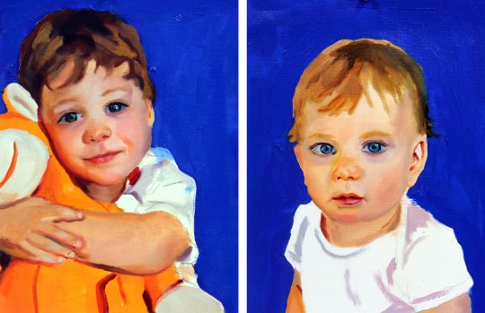 oil portraits of boy and baby Filbert and Bright