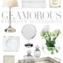 Glamorous bathroom accessories in white and silver