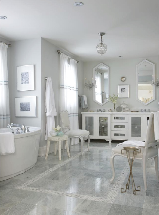 Glamorous bathroom accessorizing and styling white