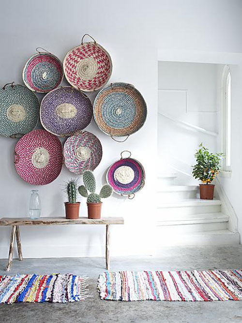 big blank wall design solutions baskets as art