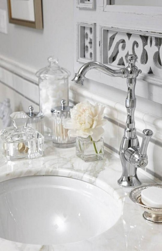 glamorous bathroom styling glass and silver