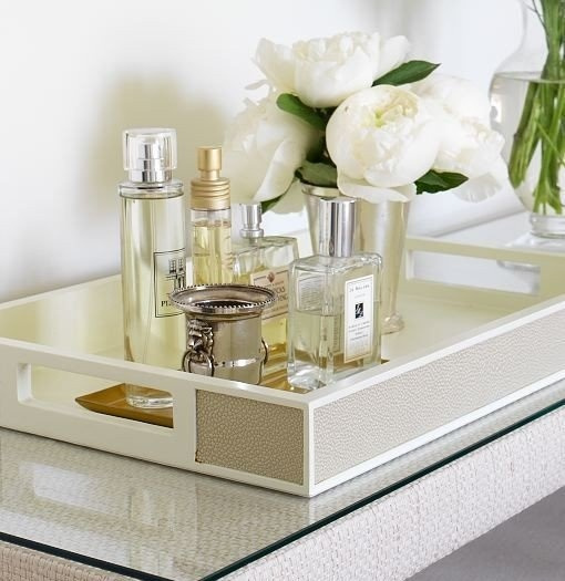 glamorous bathroom styling with tray