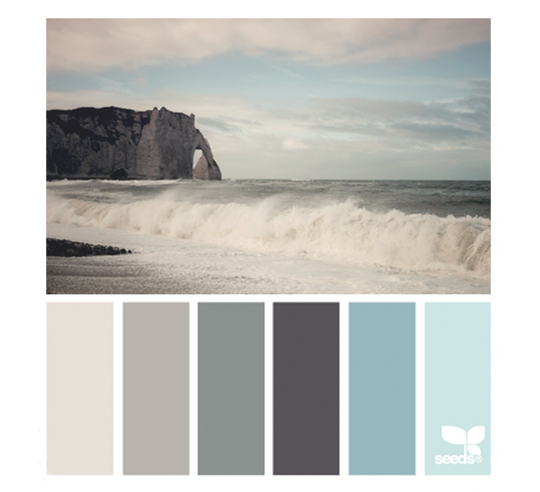Sea tones color palette - blues grays and greige