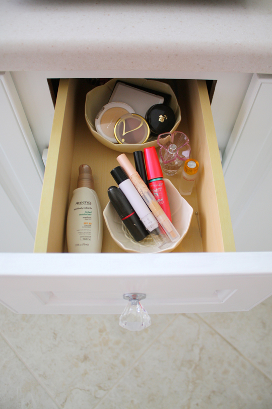 Bathroom drawer organization - makeup in bowls