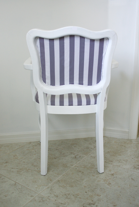 Gray and white striped chair back