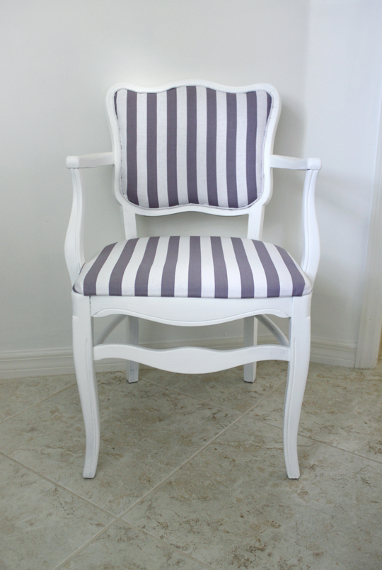 Gray and white striped chair