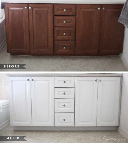 how to paint cabinets without removing doors using one can before and after pictures - Painted Bathroom Cabinets Before And After