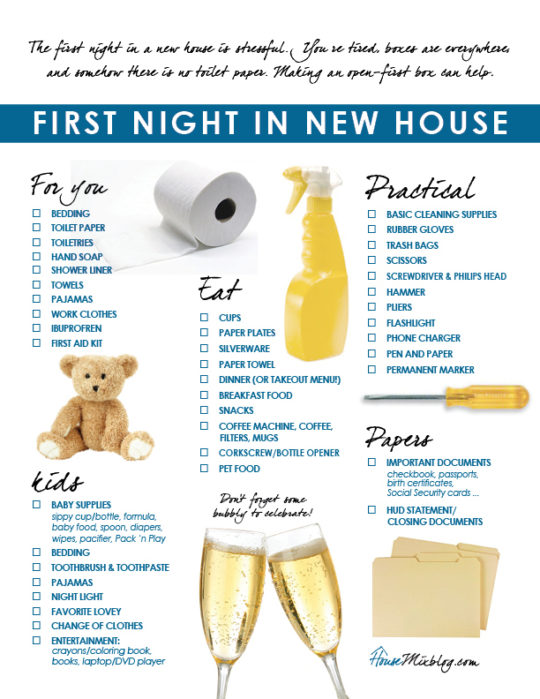 Moving part 5 family 39 s first night in new house checklist for What do u need to build a house