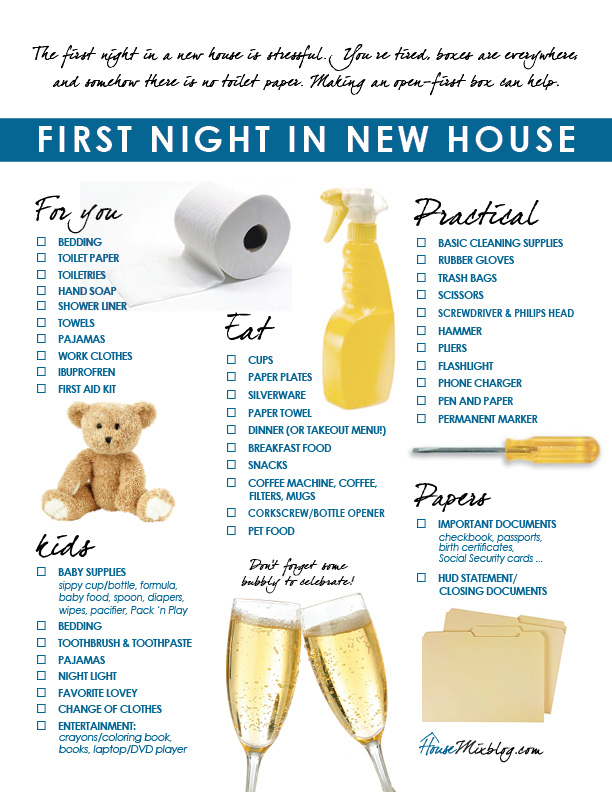 Moving part 5 family 39 s first night in new house checklist for Things you need for a house