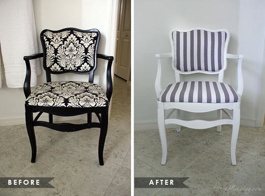 Old chair reupholstery and paint before and after pictures - How To Reupholster An Occasional Chair House Mix