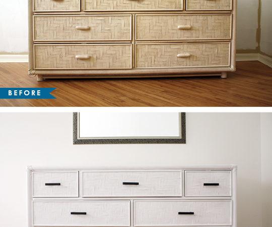 Old dresser makeover - white with black pull handles