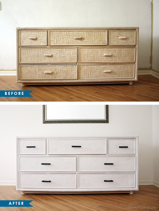 Old dresser makeover - white with black pull handles