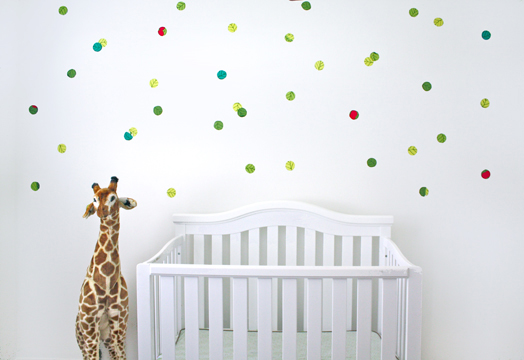 Removable fabric confetti decals with starch spray