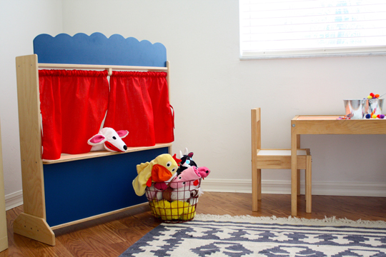 Blue green and red nursery