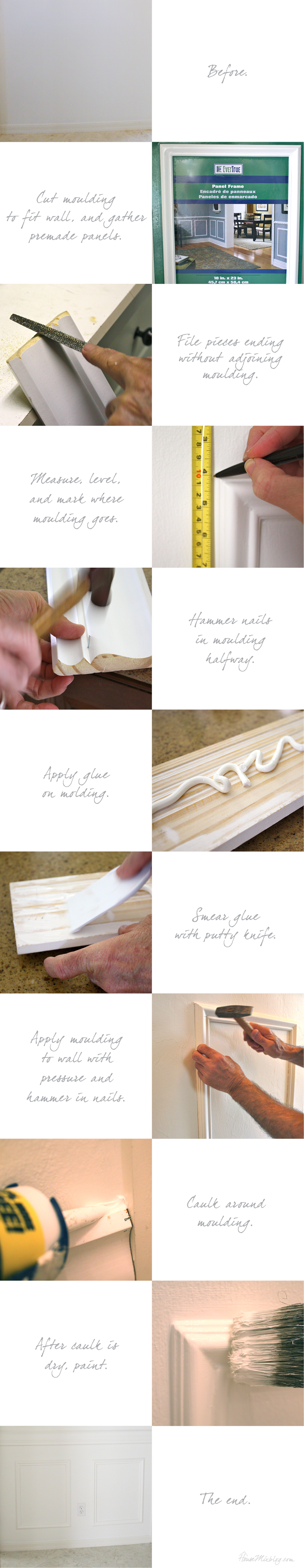 DIY step by step chair rail moulding instructions