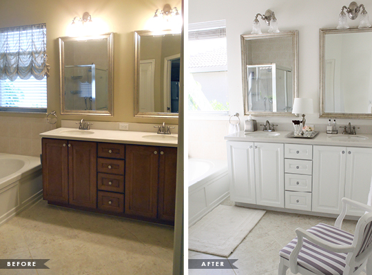 painting bathroom cabinets before and after glamorous master bathroom update house mix - Painted Bathroom Cabinets Before And After