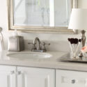 Glamorous white and silver master bathroom