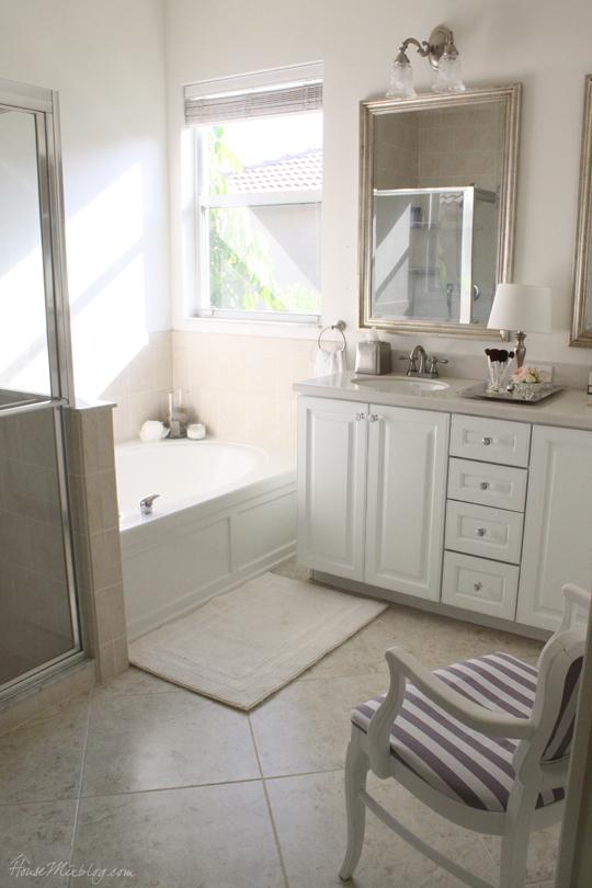 Glamorous white master bathroom