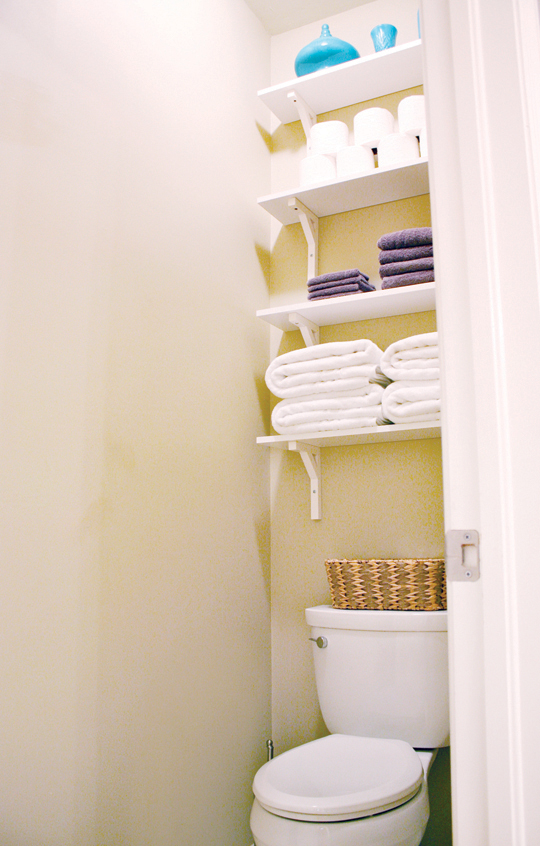 Bathroom shelves create extra storage