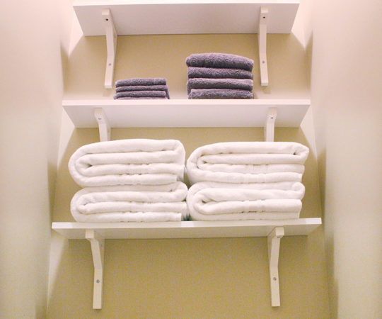 Bathroom shelves in wasted space above toliet for storage