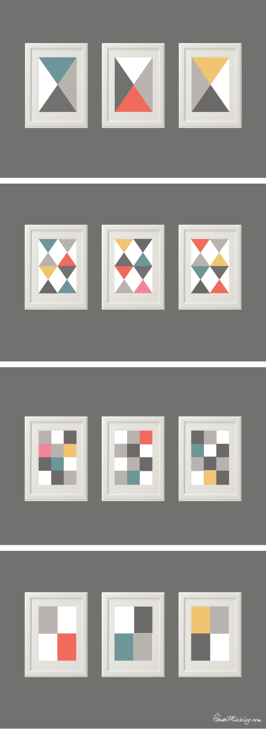 DIY artwork layout ideas - gray, coral, aqua, mustard, turquoise