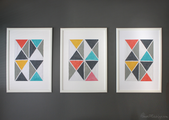DIY triangle art with fabric and acrylic paint and tape - gray coral aqua mustard turquoise