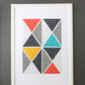 Easy DIY triangle art with fabric and acrylic paint and painters tape - gray coral aqua mustard turquoise