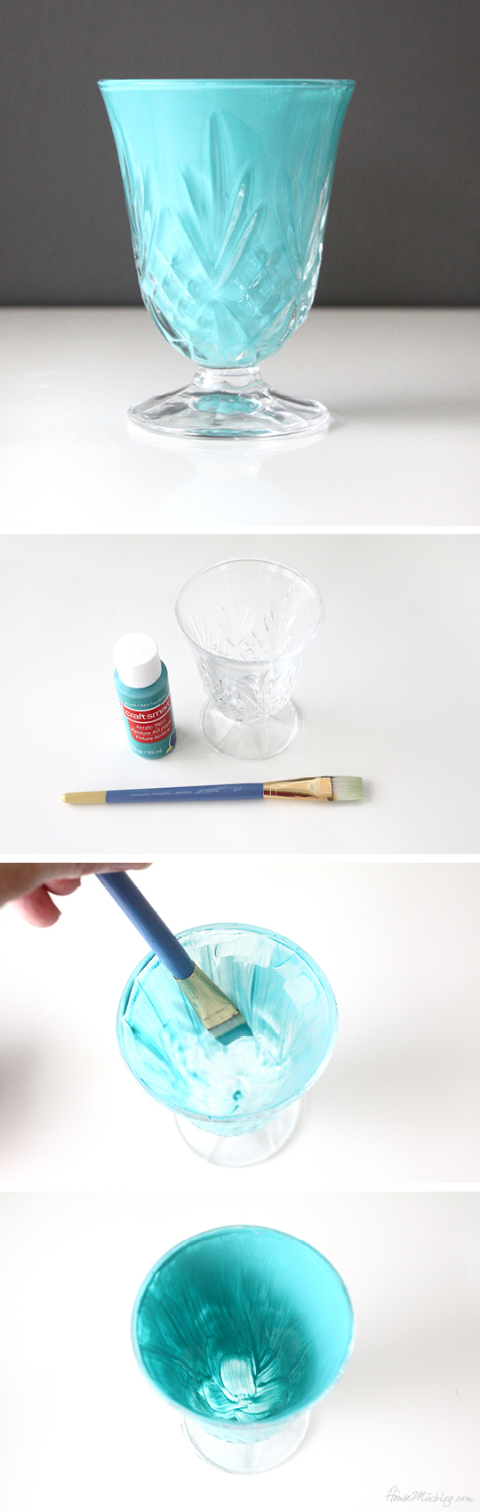 Paint the inside of a clear vase with acrylic paint for a pop of color