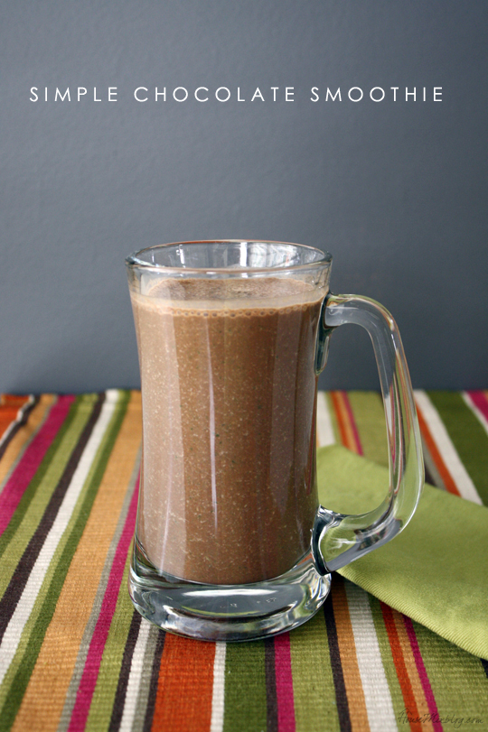 Simple healthy delicious chocolate smoothie with cocoa powder, banana, spinach